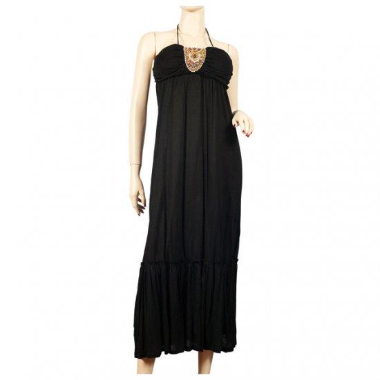 Sexy MidNight Black Sequined Plus Size Halter Dress 1X