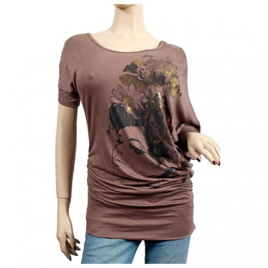 Brown Floral Print Wide Neck Plus Size Tunic Top 2X