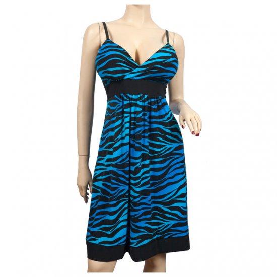 Sexy Blue Animal Print Empire Waist Plus Size Dress 3X