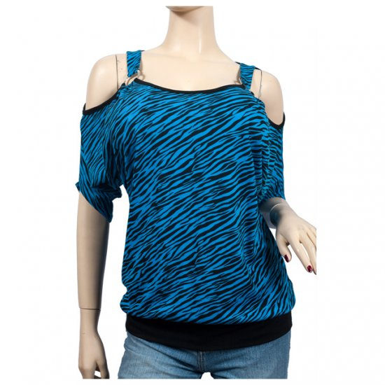 Blue Animal Print Off Shoulder O-ring Plus Size Top 3X
