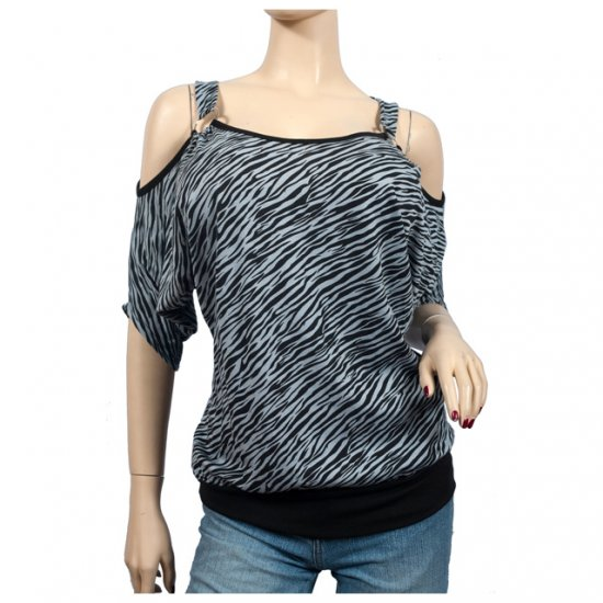Gray Animal Print Off Shoulder O-ring Plus Size Top 2X