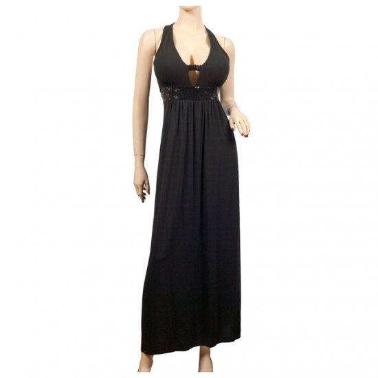 Sexy Black Maxi Cocktail Sequins Plus Size Dress 1X