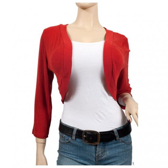Red 3/4 Sleeve Plus Size Cropped Bolero Shrug 5X