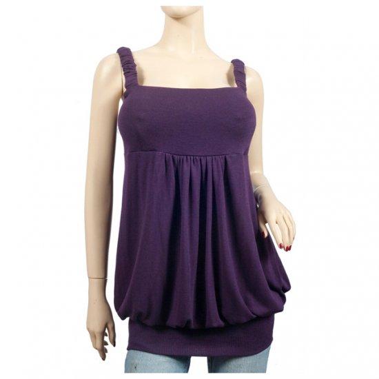 Purple Knit Sleeveless Plus Size Tunic Top 1X