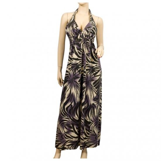 BROWN PURPLE ABSTRACT EMPIRE WAIST PLUS SIZE DRESS 2X