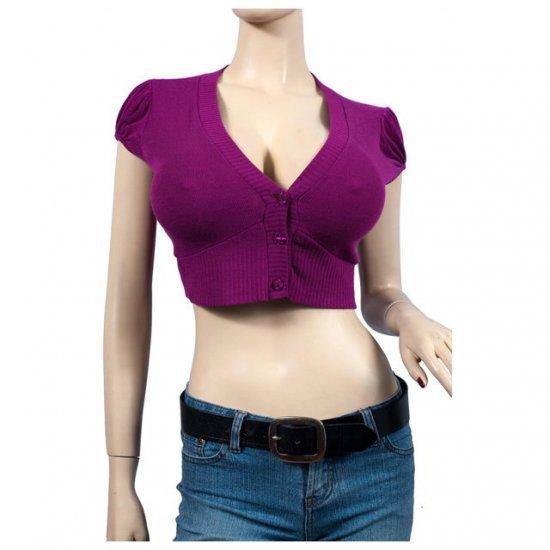 Purple Button Front V-Neck Plus Size Bolero Shrug 1X