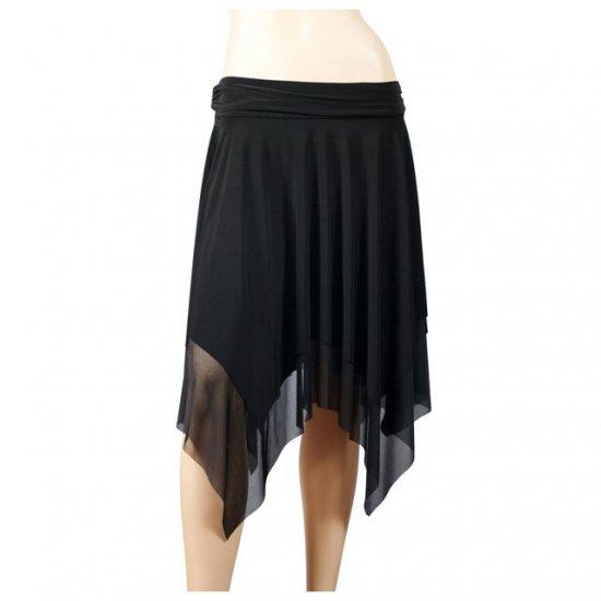 Sexy Black Layered Asymmetric Plus Size Fairy Skirt 2X