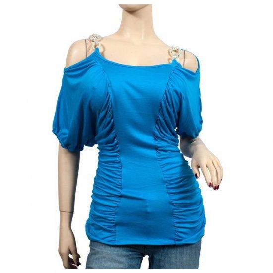Blue Ruched Pendant Strap Off Shoulder Plus Size Top 1X