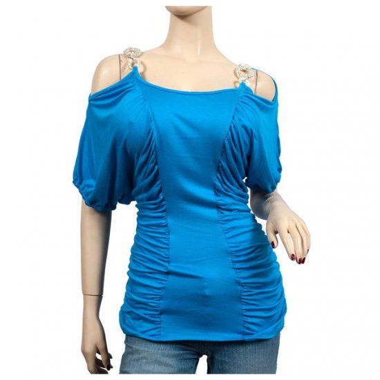 Blue Ruched Pendant Strap Off Shoulder Plus Size Top 2X