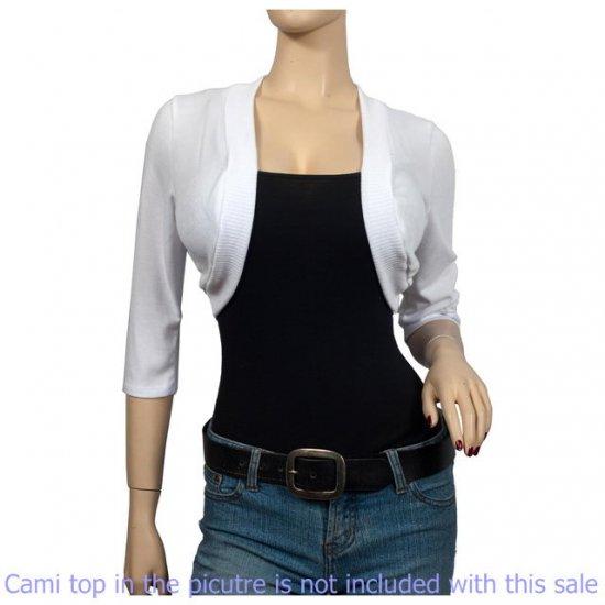 White 3/4 Sleeve Open Front Plus size Shrug Bolero 1X