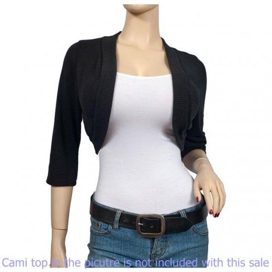 Black 3/4 Sleeve Open Front Plus size Shrug Bolero 1X