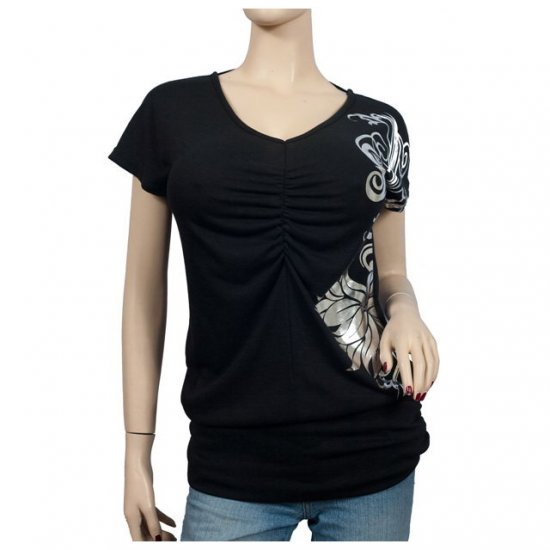 Silver floral print Black Short sleeve Plus size top 1X