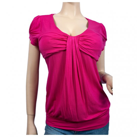 Pink Ruched Bodice Scoop Neck Plus Size 2X