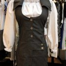 2 Pc Halter Denim Dress w white blouse