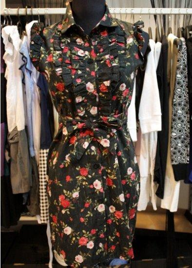 Black Floral FLutter Bib Tie Dress