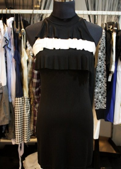 Black White FLutter Bib bodycon Dress