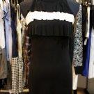 Black White FLutter Bib bodycon Dress