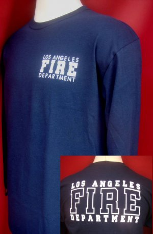 NAVY LONG SLEEVE LAFD UNIFORM T-SHIRT SIZE 2XL