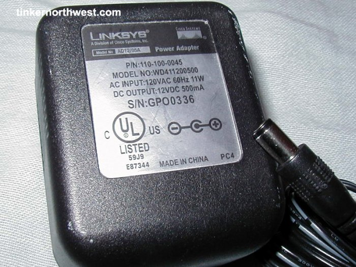 Linksys WD411200500 AC Power Adapter 12VDC 500mA