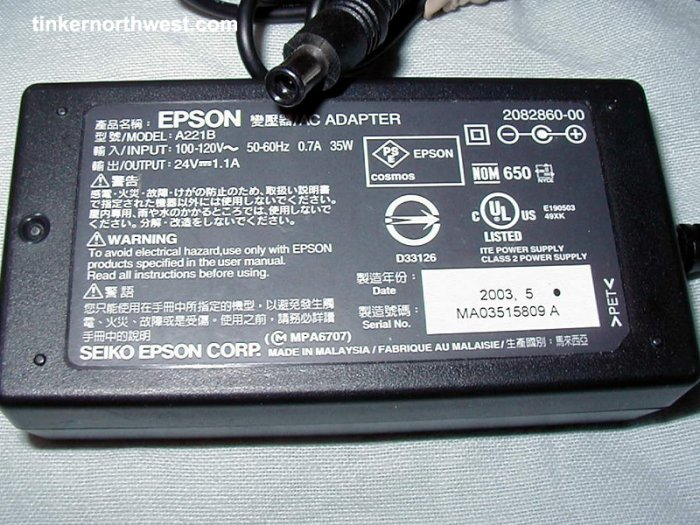 Epson A221B AC Power Adapter 24VDC 1.1A Supply