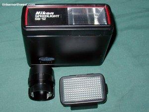 Nikon Speedlight SB-12 Flash  F3 HP w Wide Angle Attach