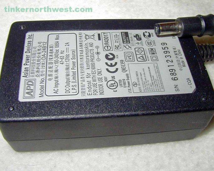 DA-24B12 APD AC Power Adapter 12VDC 2A Supply