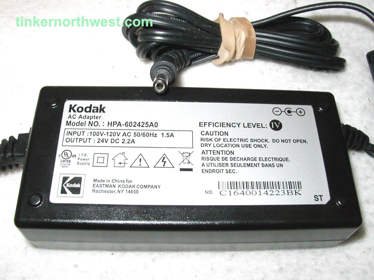 Kodak HPA-602425A0 AC Power Adapter 24VDC 2.2A Easyshare