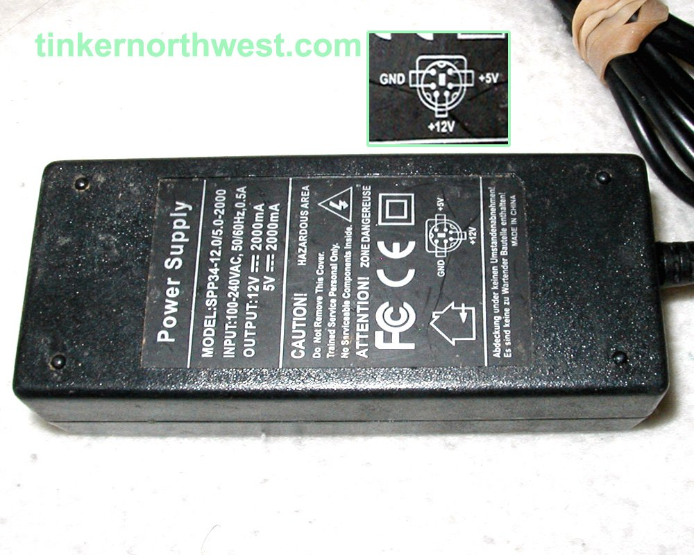 SPP34-12 0/5 0-2000 5 Pin AC Power Adapter 5VDC 2000mA, 12VDC 2000mA