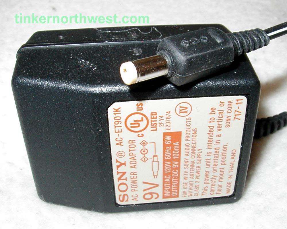 Sony AC-ET901K AC Power Adapter 9VDC 100mA Supply