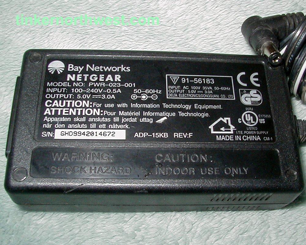 Bay Networks Netgear PWR-023-001 AC Adapter 5VDC 3A
