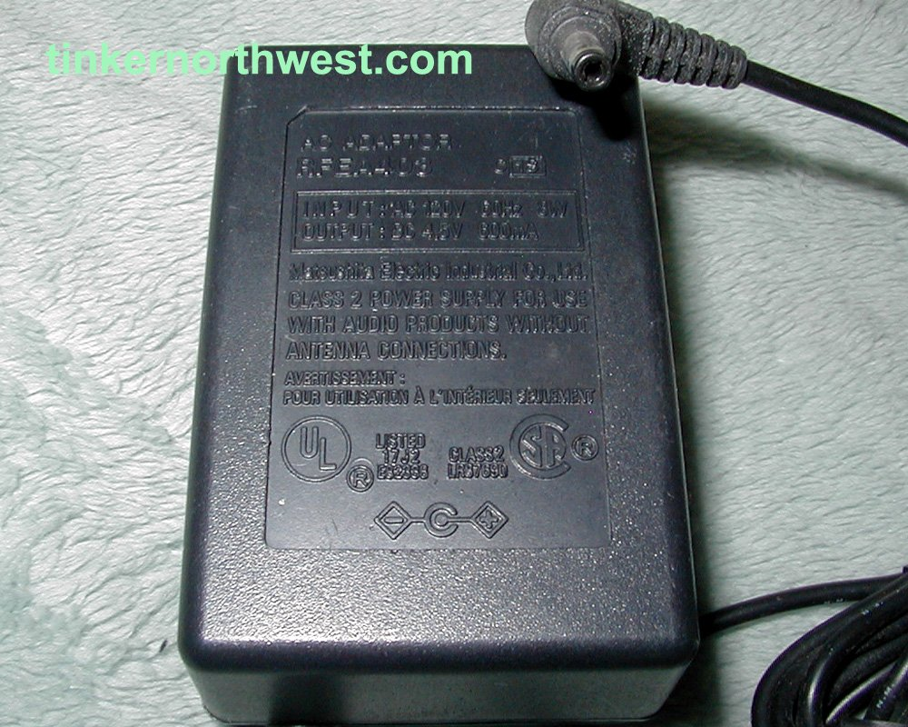 RFEA403 AC Adapter 4.5VDC, 600mA, cent. pos.