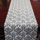 Wedding Table Runner Table Centerpiece Linens Black and White Floral Runner Decor