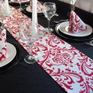 Wedding-Red & White Damask Table Runner FREE SHIP