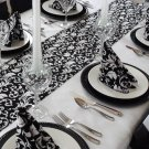 Wedding Black & White Damask Table Runner FREE SHIP