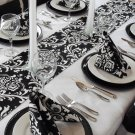 Black and White Table Runner Floral Damask Runner Wedding Table Centerpiece Decor