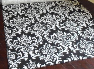 Wedding Black and White Aisle Runner Floral Damask Isle Runner Real Fabric Ceremony Decor