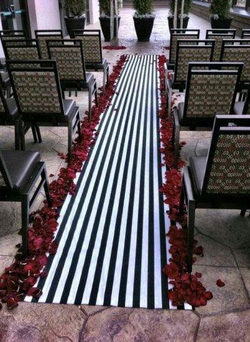 Wedding Aisle Runner Black and White Stripe Isle Runner Ceremony Decor