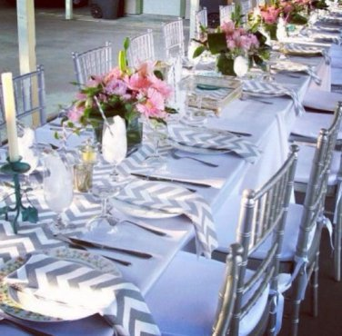 Gray Table Runner Chevron Stripe Linens Wedding Table Centerpiece Decor