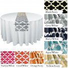 Quatrefoil Lattice Table Runner Wedding Table Centerpiece Black Gray Red Navy Blue Yellow Decor