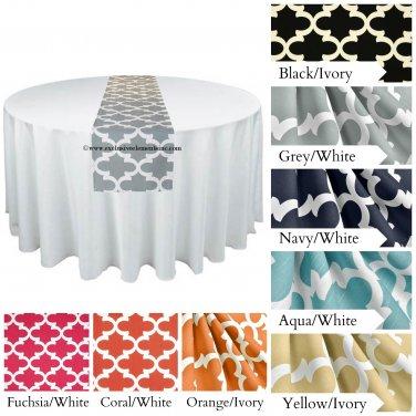 Quatrefoil Lattice Table Runner Wedding Table Centerpiece Black Gray Red Navy Blue Yellow Decor