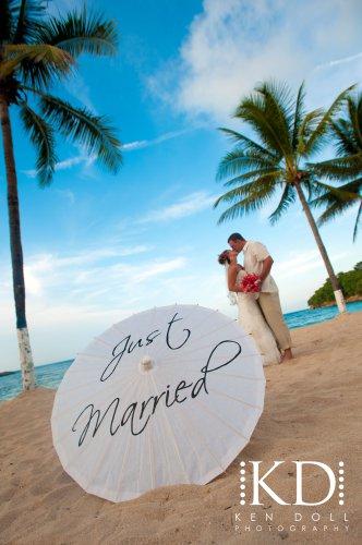 Wedding Parasol Just Married Umbrella Photography Prop White Ivory Parasol Ceremony Decor