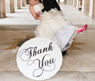 Wedding Parasol Thank You Umbrella Just Married Photography Sign White Ivory Parasol