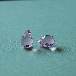 Pink faceted glass briolettes (per pair)
