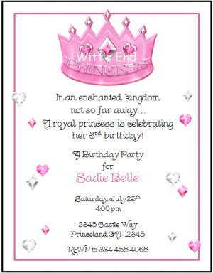 princess crown custom birthday party invitations, Party invitations