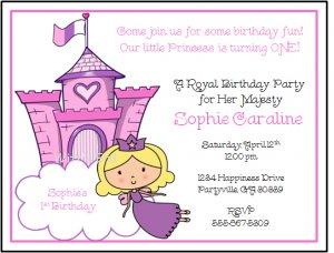 princess custom birthday party invitations, Party invitations
