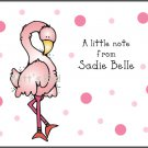 Pink Flamingo Polka Dots Custom Thank You Note Cards