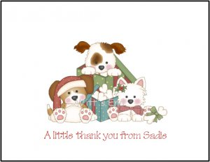 Puppy Dog Custom Christmas Holiday Thank You Note Cards