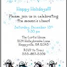 Snowman Snowflakes Custom Winter Holiday Party Invitations