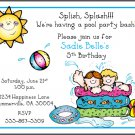 Water Fun Pool Party Custom Birthday Invitations