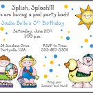 Beach Pool Water Custom Birthday Party Invitations